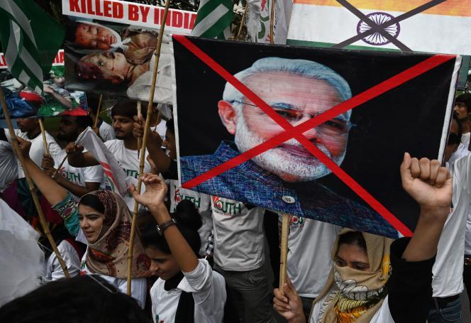 Manifestation contre la politique de Narendra Modi au Jammu-et-Cachemire, le 24 septembre à Lahore.