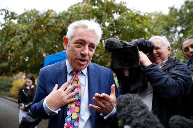 L'ancien président de la Chambre des communes, John Bercow, s'adressant aux médias devant le Parlement, àLondres, le 24septembre2019.