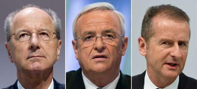 De gauche à droite :le président du Conseil de surveillance du constructeur automobile allemand Volkswagen Hans Dieter Pötsch,l'ancien président du directoire Martin Winterkorn et l'actuel PDG Herbert Diess.