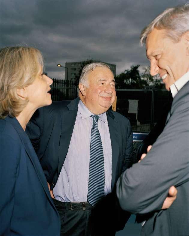 La présidente de la région Île-de-France, Valérie Pécresse, et Gérard Larcher, avec le maire du Blanc-Mesnil, Thierry Meignen, le 12septembre.