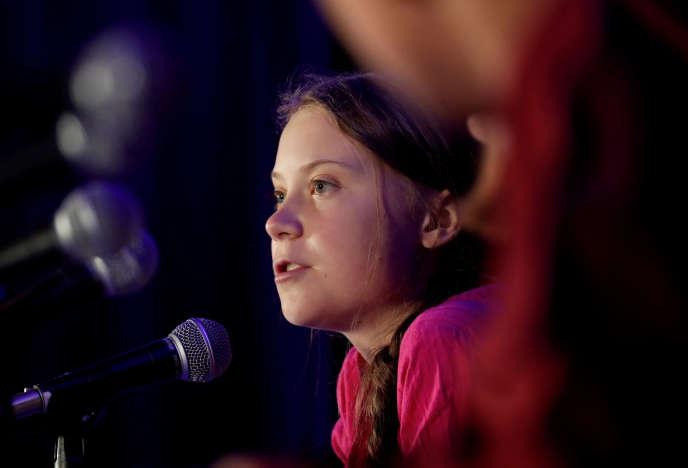 Greta Thunberg en conférence à New York, le 23 septembre 2019.