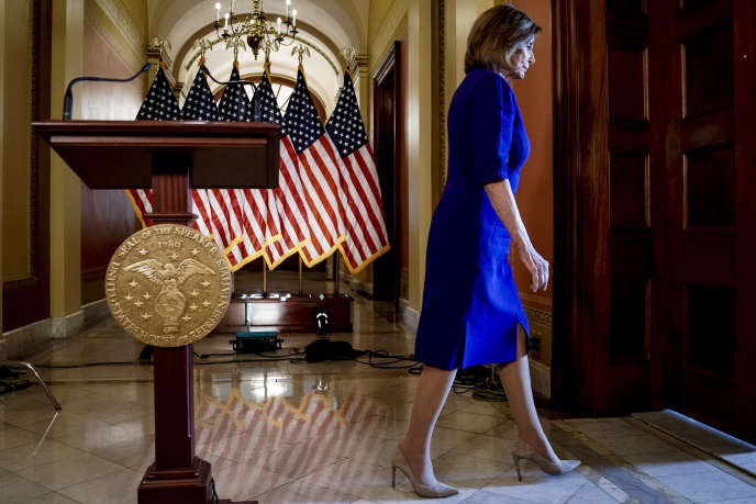 La présidente démocrate de la Chambre des représentants, Nancy Pelosi, à Capitol Hill à Washington, le 24 septembre.