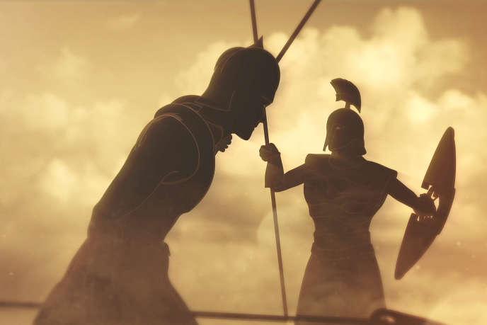 Patrocle, l'ami d'enfance d'Achille, avec son armure, à la tête de l'armée des Myrmidons pour sauver les Grecs.