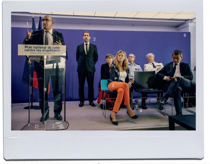Le 17 septembre, à l'Hôtel de police de Marseille, Laurent Nunez, Christophe Castaner, Nicole Belloubet et Gérald Darmanin.
