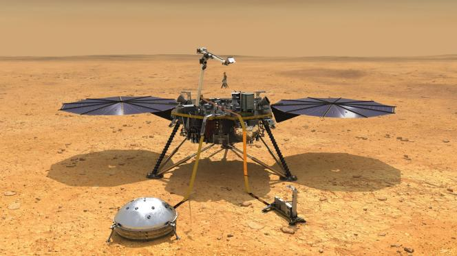 Vue d'artiste de la sonde InSight.