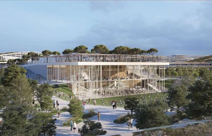 Vue de la « Music Venue », une salle de concert de 7 000 places destinée à s'insérer dans le futur ensemble urbain d'EuropaCity.