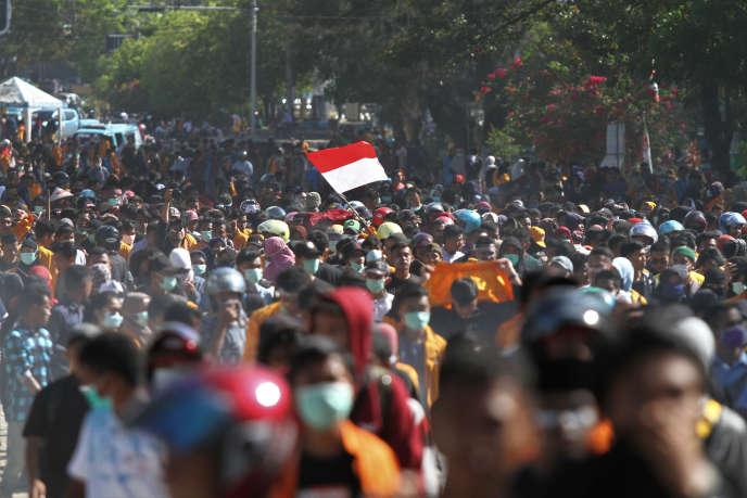 Lors d'une manifestation à Kendari, dans la province deSulawesi du Sud-Est, le 26 septembre.