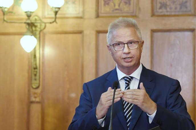Le Hongrois Laszlo Trocsanyi, en septembre 2017, au Parlement de Budapest.