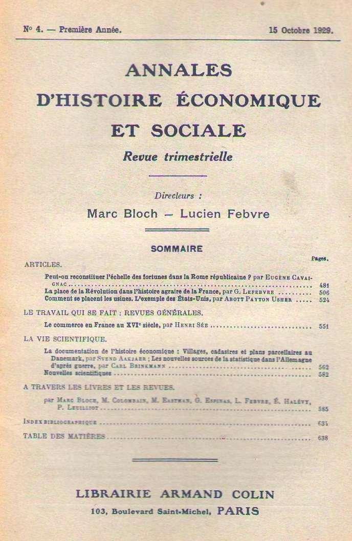 La première page d'un des premiers numéros des« Annales» (n° 4, octobre 1930), l'un des classiques creusets de la recherche historique française.