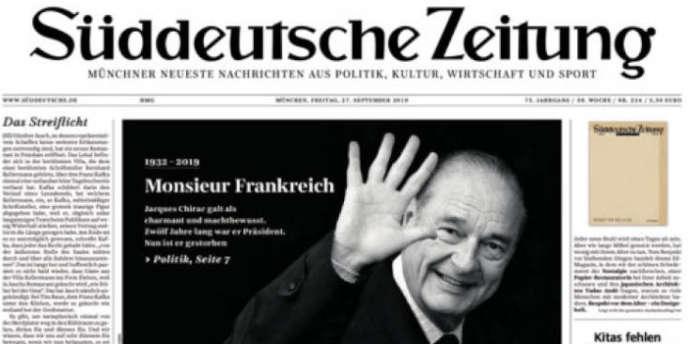 « Monsieur Frankreich» : la« une» du«Süddeutsche Zeitung» au lendemain de la mort de Jacques Chirac.