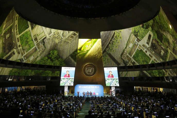 La militante écologiste Greta Thunberg s'adresse à l'Assemblée générale des Nations unies, lors du sommet pour le climat, à New York, le 23 septembre.