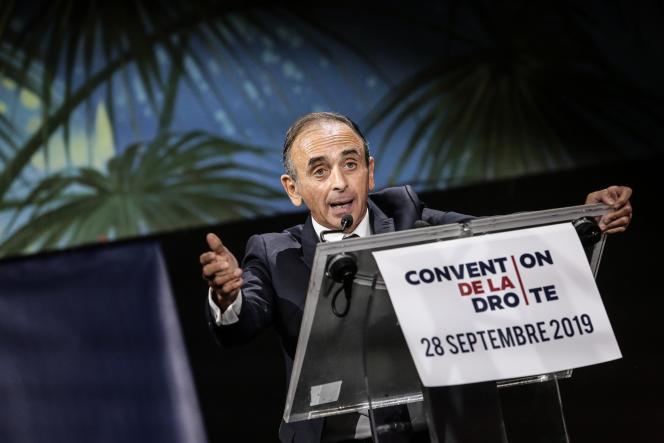 Eric Zemmour, lors de son discours à la convention de la droite, à Paris, le 28septembre.