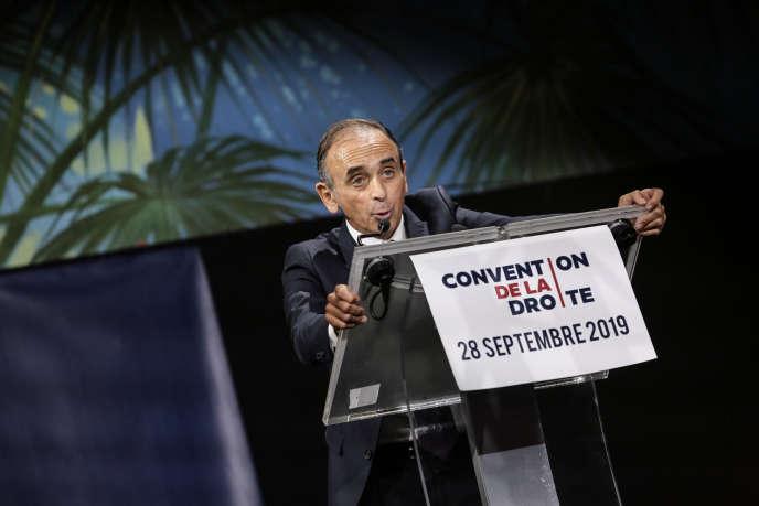 Eric Zemmour à la tribune de la Convention de la droite, organisée par des proches de Marion Maréchal Le Pen, le 28 Septembre 2019, à Paris.