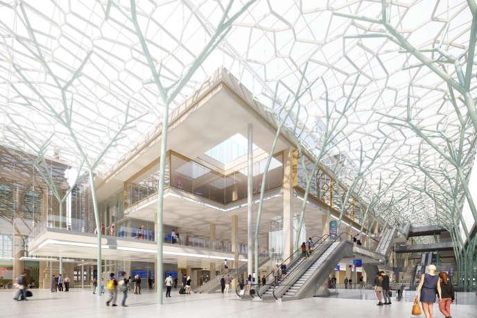 Le projet d'entrée du nouveau bâtiment sur le côté est de la gare du Nord, à Paris.