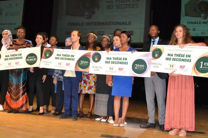 Les quatre doctorants lauréats de la finale internationale de «Ma thèse en 180 secondes» à Dakar, le 26 septembre 2019.
