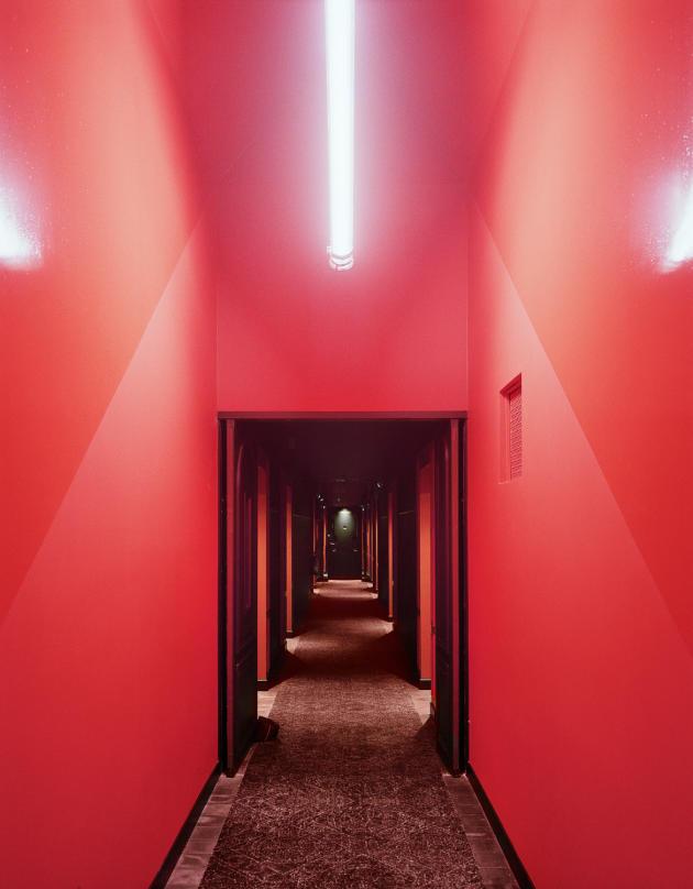 Le couloir d'accès aux chambres.