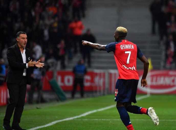 Victor Osimhen célèbre son but face à Strasbourg le 25 septembre 2019.