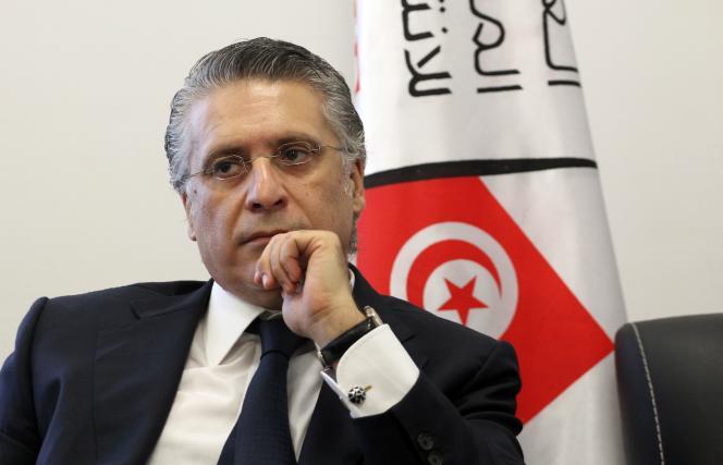 Nabil Karoui, magnat tunisien des médias et candidat à l'élection présidentielle,le 2 août 2019 à Tunis (Tunisie).