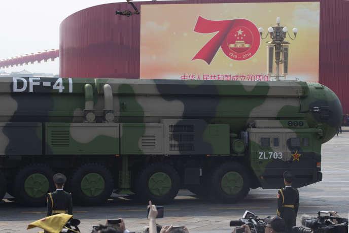 Un missile Dongfeng-41 lors de la parade militaire pour le 70e anniversaire de la République populaire de Chine, le 1er octobre à Pékin.