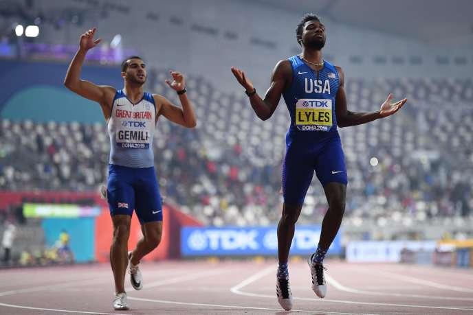 Noah Lyles a remporté son titre sur 200m avec une course en 19s83, à Doha, mardi 1er octobre.