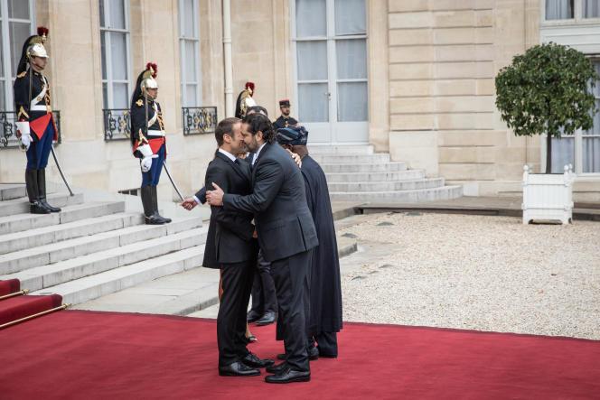 Emmanuel Macron reçoit Saad Hariri, le 30 septembre, à Paris, à l'occasion des obsèques de Jacques Chirac.