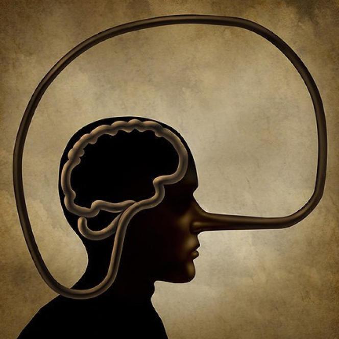 Cerveau d'un menteur symbolisé en illustration 3D.