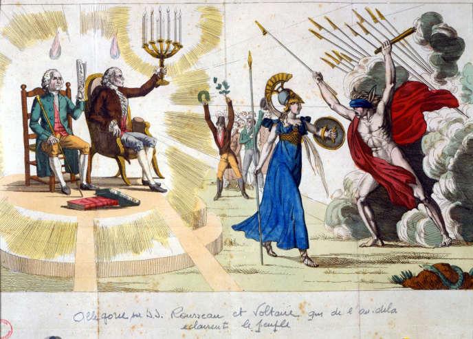 « Les philosophes Rousseau et Voltaire, de l'au-delà, éclairent le peuple. » Allégorie anonyme du XIXe siècle