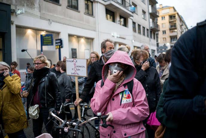 Manifestation des habitants de Rouen ce mardi 1 octobre 2019, pour demander plus de transparence après l'incendire de l'usine Lubirzol.