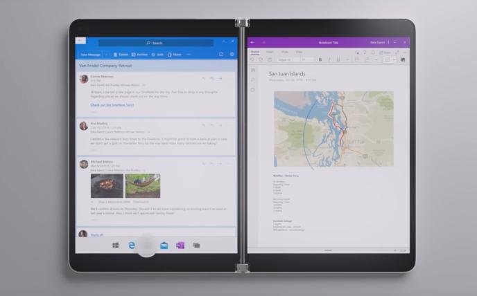 La Surface Neo, la tablette pliable de Microsoft, est attendue pour mi-2020.