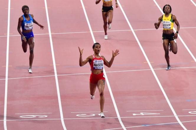 La BahreïnienneSalwa Eid Naser a réalisé la troisième meilleure performance mondiale de tous les temps, en 48s 14, jeudi 3 octobre à Doha.