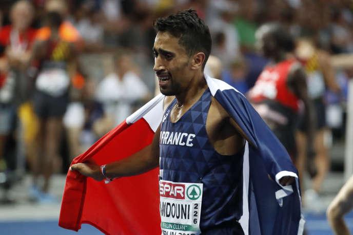 Morhad Amdouni après sa victoire à Berlin le 7 août 2018.