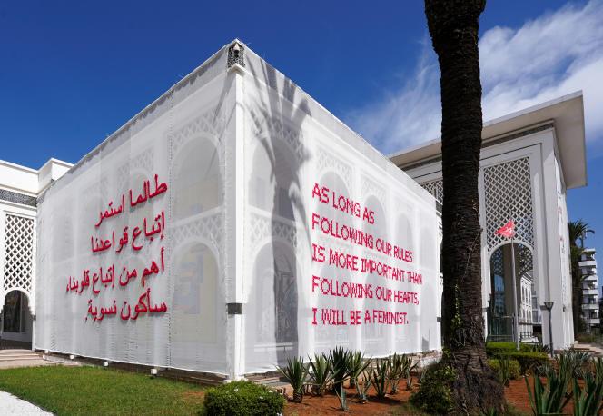 Installation de Katharina Cibulka sur le Musée d'art moderne et contemporain Mohammed VI à Rabat, 2019. Courtesy de l'artiste.