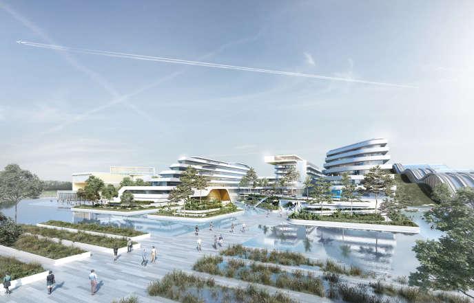 Le projet du Water Park hôtel d'EuropaCity à Gonesse, dans le Val-d'Oise.