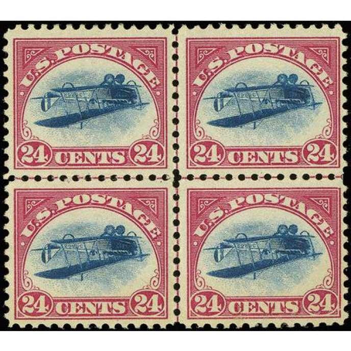 1,74 million de dollars pour ce bloc de quatre timbres de 1918 avec un avion imprimé par erreur à l'envers.