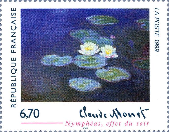 Claude Monet timbré par La Poste en 1999.