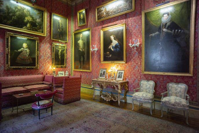 Vue de l'une des salles du palais de Liria désormais ouvertes au public, à Madrid, le 16 septembre 2019.