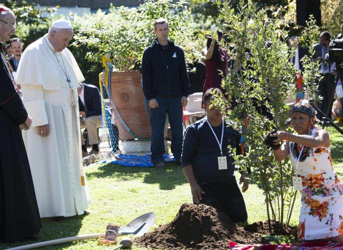 Le pape François et des représentants de peuples indigènes plantent un arbre pour fêter saint François d'Assise, au Vatican, le 4 octobre.