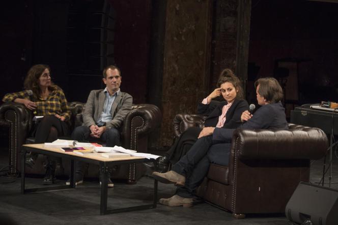 Paris, samedi 5 octobre 2019, Le Monde Festival au Théatre des Bouffes du Nord avec Nicolas Truong et Isabelle Renier présentant Michaël Foessel et Barbara Stiegler.