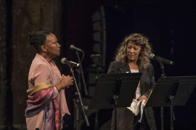 Christiane Taubira et Barbara Cassin, le samedi 5 ocotbre, au Théâtre des Bouffes du Nord.