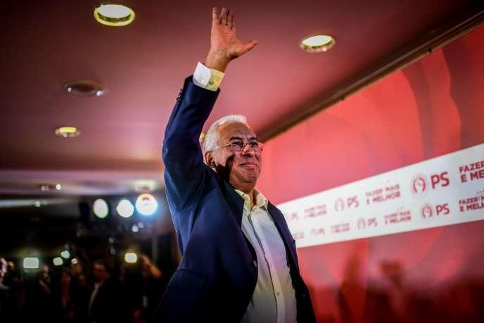 Le social-démocrate Antonio Costa après l'annonce des résultats provisoires des élections législatives, à Lisbonne, le 6 octobre.