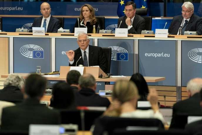 Josep Borrell lors de son audition par le Parlement européen, le 7 octobre à Bruxelles.