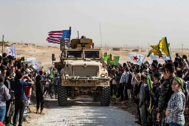 Des troupes américaines à proximité de la frontière turque, dans le nord de la Syrie, le 6octobre 2019.