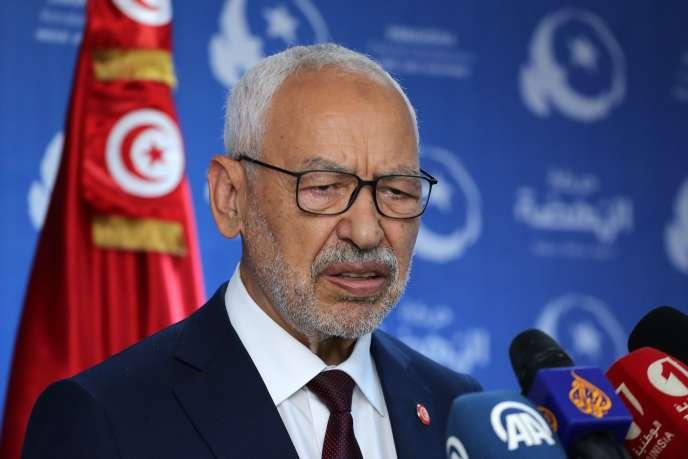 Le chef d'Ennahda, Rached Ghannouchi, ici à Tunis le 6 octobre, a été élu député.