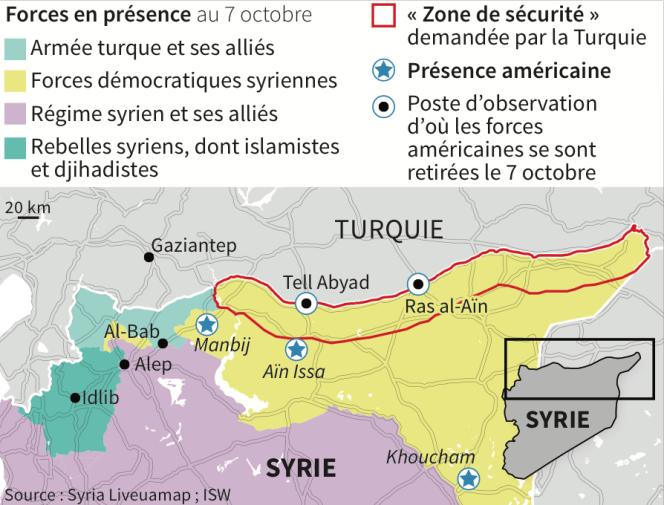 Forces en présence au 7 octobre dans le nord de la Syrie, à la frontière turque.