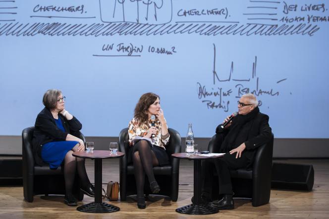 Nathalie de Vries et Dominique Perrault lors de la conférence «Quels rêves pour la ville de demain?», animée par Isabelle Regnier, le samedi 5octobre, dans le cadre du Monde Festival, à l'Opéra Bastille, à Paris.