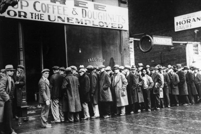 La crise de 1929 aux Etats-Unis.