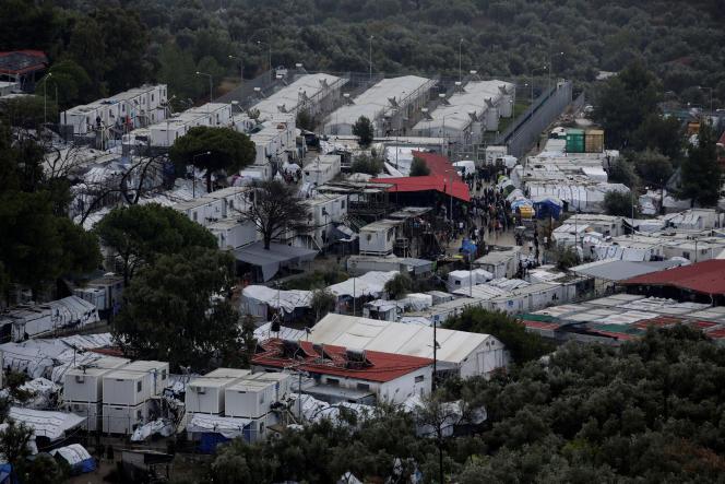 Un camp de migrants sur l'île de Lesbos, en Grèce, le 8 octobre.