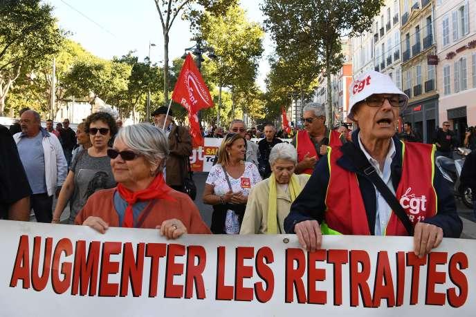 Lors d'une manifestation contre la réforme des retraites à Marseille, le 8 octobre.