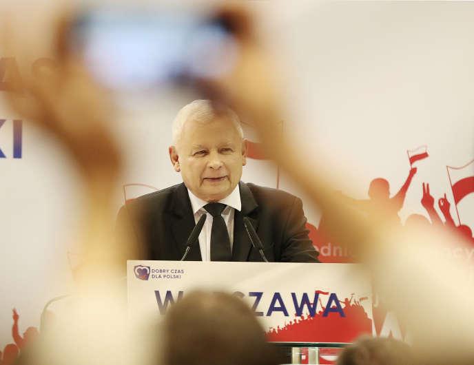 Le chef de file du PiS, Jaroslaw Kaczynski, le 8 octobre à Varsovie.