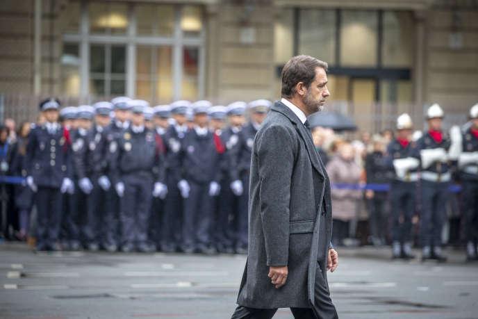 Christophe Castaner, à la cérémonie en hommage aux victimes de l'attaque terroriste de la Préfecture de police, à Paris, le 8 octobre.